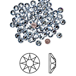 flat back, swarovski crystal hotfix rhinestone, crystal passions, crystal blue shade, foil back, 3-3.2mm xirius rose (2078), ss12. sold per pkg of 144 (1 gross).