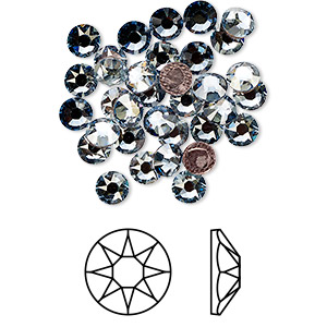 flat back, swarovski crystal hotfix rhinestone, crystal passions, crystal blue shade, foil back, 4.6-4.8mm xirius rose (2078), ss20. sold per pkg of 12.