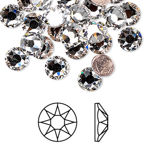 flat back, swarovski crystal hotfix rhinestone, crystal passions, crystal clear, foil back, 7.07-7.27mm xirius rose (2078), ss34. sold per pkg of 12.