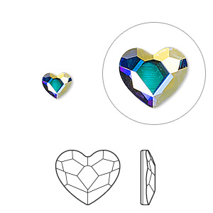 flat back, swarovski crystal hotfix rhinestone, crystal passions, crystal ab, foil back, 6mm faceted heart (2808hf). sold per pkg of 2.
