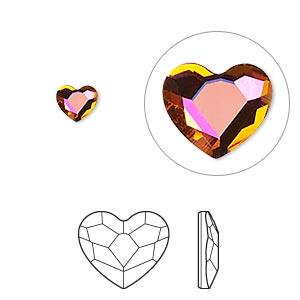flat back, swarovski crystal hotfix rhinestone, crystal passions, crystal astral pink, foil back, 6mm faceted heart (2808hf). sold per pkg of 24.