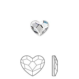 flat back, swarovski crystal hotfix rhinestone, crystal passions, crystal clear, foil back, 10mm faceted heart (2808). sold per pkg of 2.