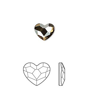 flat back, swarovski crystal hotfix rhinestone, crystal passions, crystal golden shadow, foil back, 10mm faceted heart (2808). sold per pkg of 2.