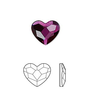 flat back, swarovski crystal hotfix rhinestone, crystal passions, fuchsia, foil back, 14mm faceted heart (2808). sold per pkg of 2.