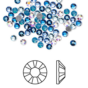 flat back, swarovski crystal hotfix rhinestone, crystal passions, glacier, foil back, 3-3.2mm xilion rose (2028), ss12. sold per pkg of 144 (1 gross).