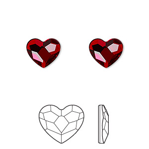 flat back, swarovski crystal hotfix rhinestone, crystal passions, light siam, foil back, 10mm faceted heart (2808). sold per pkg of 2.
