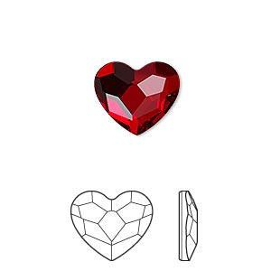 flat back, swarovski crystal hotfix rhinestone, crystal passions, light siam, foil back, 14mm faceted heart (2808). sold per pkg of 24.
