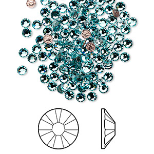 flat back, swarovski crystal hotfix rhinestone, crystal passions, light turquoise, foil back, 2.7-2.9mm xilion rose (2038), ss10. sold per pkg of 12.