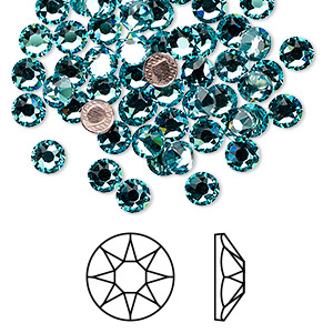 flat back, swarovski crystal hotfix rhinestone, crystal passions, light turquoise, foil back, 4.6-4.8mm xirius rose (2078), ss20. sold per pkg of 144 (1 gross).