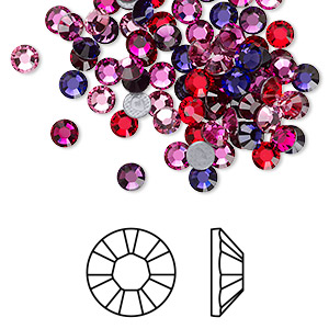 flat back, swarovski crystal hotfix rhinestone, crystal passions, passion, foil back, 3.8-4mm xilion rose (2028), ss16. sold per pkg of 96.