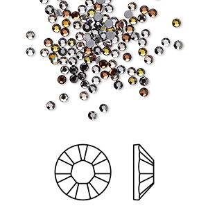 flat back, swarovski crystal hotfix rhinestone, crystal passions, smokies, foil back, 1.9-2.1mm xilion rose (2028), ss6. sold per pkg of 144 (1 gross).