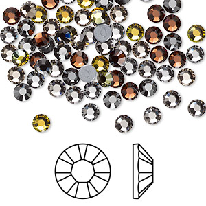 flat back, swarovski crystal hotfix rhinestone, crystal passions, smokies, foil back, 3.8-4mm xilion rose (2028), ss16. sold per pkg of 96.