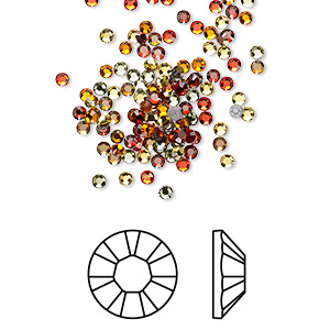 flat back, swarovski crystal hotfix rhinestone, crystal passions, sonoran, foil back, 1.9-2.1mm xilion rose (2028), ss6. sold per pkg of 144 (1 gross).