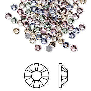 flat back, swarovski crystal hotfix rhinestone, crystal passions, tenderness, foil back, 3-3.2mm xilion rose (2028), ss12. sold per pkg of 144 (1 gross).