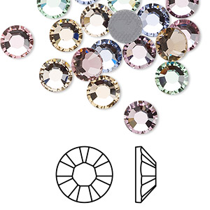 flat back, swarovski crystal hotfix rhinestone, crystal passions, tenderness, foil back, 7.07-7.27mm xilion rose (2028), ss34. sold per pkg of 24.