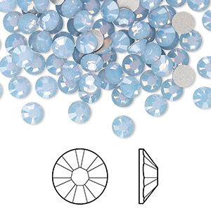 flat back, swarovski crystal rhinestone, air blue opal, foil back, 4.6-4.8mm xirius rose (2088), ss20. sold per pkg of 1,440 (10 gross).