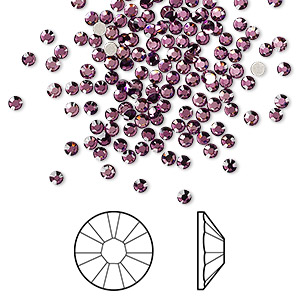 flat back, swarovski crystal rhinestone, amethyst, foil back, 2.1-2.3mm xilion rose (2058), ss7. sold per pkg of 144 (1 gross).