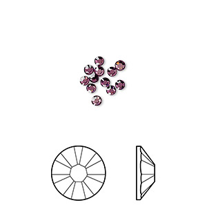 flat back, swarovski crystal rhinestone, amethyst, foil back, 2.1-2.3mm xilion rose (2058), ss7. sold per pkg of 12.