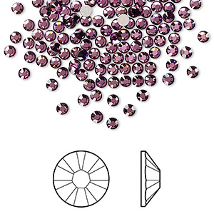 flat back, swarovski crystal rhinestone, amethyst, foil back, 2.5-2.7mm xilion rose (2058), ss9. sold per pkg of 144 (1 gross).