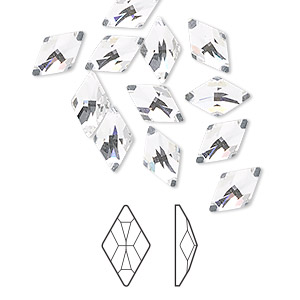 flat back, swarovski crystal rhinestone, crystal clear, foil back, 10x6mm faceted rhombus (2709). sold per pkg of 288 (2 gross).
