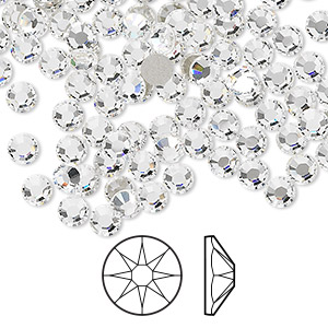 flat back, swarovski crystal rhinestone, crystal clear, foil back, 3.8-4mm xirius rose (2088), ss16. sold per pkg of 1,440 (10 gross).