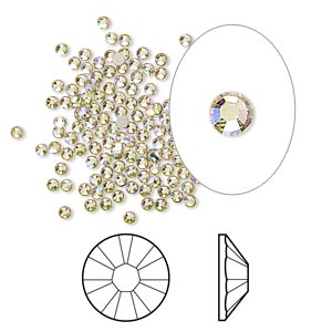flat back, swarovski crystal rhinestone, crystal luminous green, foil back, 1.7-1.9mm xilion rose (2058), ss5. sold per pkg of 1,440 (10 gross).