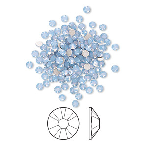flat back, swarovski crystal rhinestone, crystal passions, air blue opal, foil back, 2.1-2.3mm xilion rose (2058), ss7. sold per pkg of 144 (1 gross).
