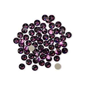 flat back, swarovski crystal rhinestone, crystal passions, amethyst, foil back, 3-3.2mm xirius rose (2088), ss12. sold per pkg of 144 (1 gross).