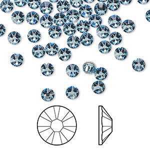 flat back, swarovski crystal rhinestone, crystal passions, aquamarine, foil back, 3.8-4mm xirius rose (2088), ss16. sold per pkg of 144 (1 gross).
