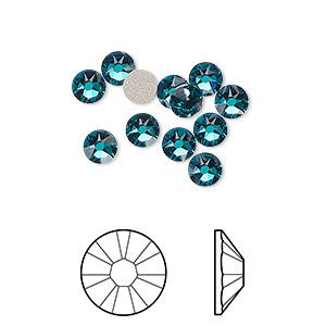 flat back, swarovski crystal rhinestone, crystal passions, blue zircon, foil back, 4.6-4.8mm xirius rose (2088), ss20. sold per pkg of 12.