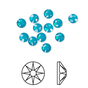 flat back, swarovski crystal rhinestone, crystal passions, caribbean blue opal, foil back, 4.6-4.8mm xirius rose (2088), ss20. sold per pkg of 12.