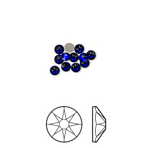 flat back, swarovski crystal rhinestone, crystal passions, cobalt, foil back, 3-3.2mm xirius rose (2088), ss12. sold per pkg of 12.