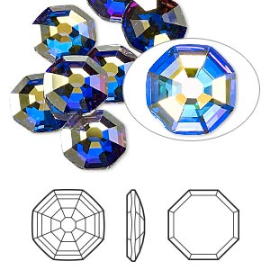 flat back, swarovski crystal rhinestone, crystal passions, crystal ab, foil back, 10mm solaris (2611). sold per pkg of 24.