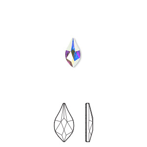 flat back, swarovski crystal rhinestone, crystal passions, crystal ab, foil back, 7.5mm faceted flame (2205). sold per pkg of 12.