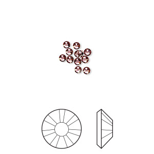 flat back, swarovski crystal rhinestone, crystal passions, crystal antique pink, foil back, 2.1-2.3mm xilion rose (2058), ss7. sold per pkg of 12.