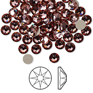 flat back, swarovski crystal rhinestone, crystal passions, crystal antique pink, foil back, 4.6-4.8mm xirius rose (2088), ss20. sold per pkg of 144 (1 gross).