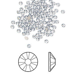 flat back, swarovski crystal rhinestone, crystal passions, crystal blue shade, foil back, 2.1-2.3mm xilion rose (2058), ss7. sold per pkg of 144 (1 gross).