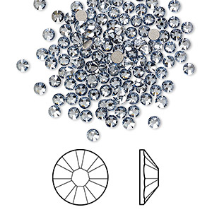 flat back, swarovski crystal rhinestone, crystal passions, crystal blue shade, foil back, 2.5-2.7mm xilion rose (2058), ss9. sold per pkg of 144 (1 gross).