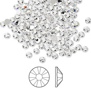 flat back, swarovski crystal rhinestone, crystal passions, crystal clear, foil back, 2.5-2.7mm xilion rose (2058), ss9. sold per pkg of 144 (1 gross).