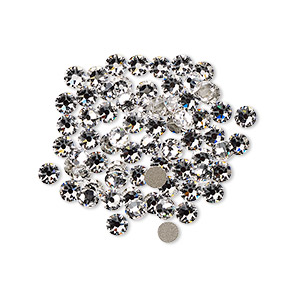 flat back, swarovski crystal rhinestone, crystal passions, crystal clear, foil back, 3-3.2mm xirius rose (2088), ss12. sold per pkg of 144 (1 gross).