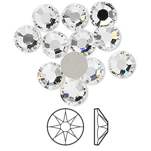 flat back, swarovski crystal rhinestone, crystal passions, crystal clear, foil back, 7.07-7.27mm xirius rose (2088), ss34. sold per pkg of 12.