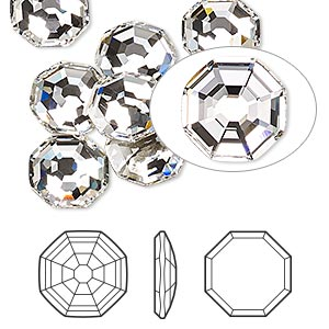 flat back, swarovski crystal rhinestone, crystal passions, crystal clear, foil back, 10mm solaris (2611). sold per pkg of 2.