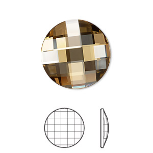 flat back, swarovski crystal rhinestone, crystal passions, crystal golden shadow, foil back, 20mm faceted chessboard round (2035). sold per pkg of 4.