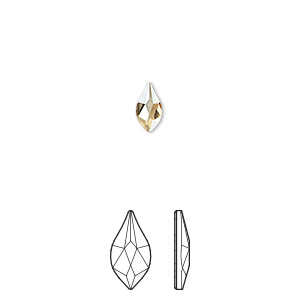 flat back, swarovski crystal rhinestone, crystal passions, crystal golden shadow, foil back, 7.5mm faceted flame (2205). sold per pkg of 48.