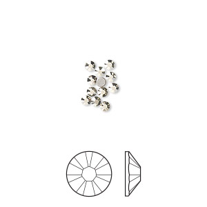 flat back, swarovski crystal rhinestone, crystal passions, crystal metallic light gold, foil back, 2.1-2.3mm xilion rose (2058), ss7. sold per pkg of 12.