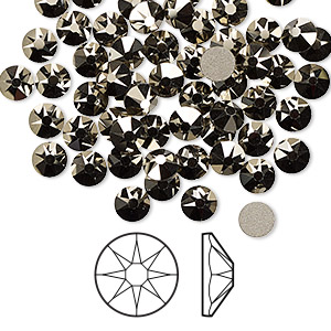 flat back, swarovski crystal rhinestone, crystal passions, crystal metallic light gold, foil back, 4.6-4.8mm xirius rose (2088), ss20. sold per pkg of 144 (1 gross).
