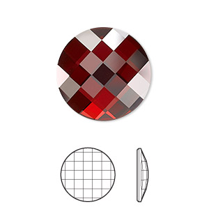 flat back, swarovski crystal rhinestone, crystal passions, crystal red magma, foil back, 20mm faceted chessboard round (2035). sold individually.