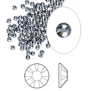 flat back, swarovski crystal rhinestone, crystal passions, denim blue, foil back, 2.1-2.3mm xilion rose (2058), ss7. sold per pkg of 144 (1 gross).
