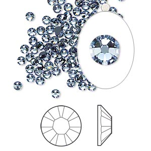 flat back, swarovski crystal rhinestone, crystal passions, denim blue, foil back, 2.5-2.7mm xilion rose (2058), ss9. sold per pkg of 12.