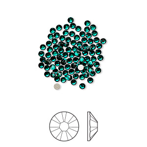 flat back, swarovski crystal rhinestone, crystal passions, emerald, foil back, 1.7-1.9mm xilion rose (2058), ss5. sold per pkg of 144 (1 gross).